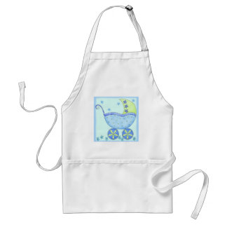Bebê da carruagem do carrinho de bebê azul avental