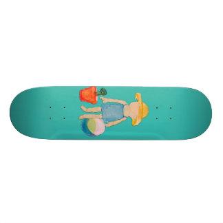 Bebé da criança do azul de oceano na praia shape de skate 19,7cm