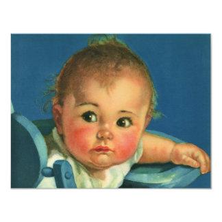 Bebé da criança do vintage ou festa de aniversário convite 10.79 x 13.97cm