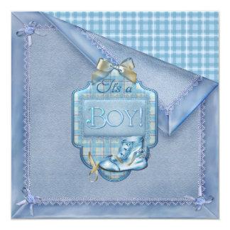 Bebê de Brown azul da xadrez de Bootie do vintage Convite Quadrado 13.35 X 13.35cm