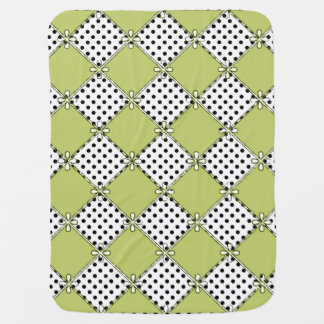 Bebê-Diamantes & Dots-Olive-Black-Stylish_Blanket Manta Para Bebe