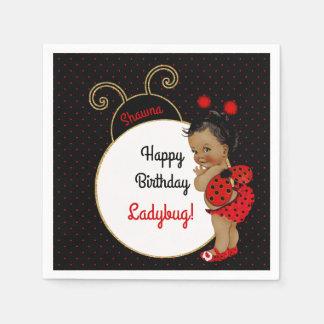 Bebé do afro-americano do joaninha vermelho & guardanapo de papel