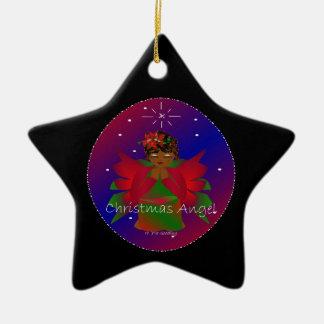 Bebê do anjo do Natal em todo o mundo no preto II Ornamento De Cerâmica Estrela