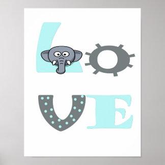 Bebê do berçário dos elefantes da tipografia do poster