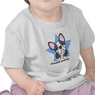 Bebê do buldogue francês de BW da estrela de Kawai Camisetas