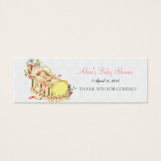 Bebê do chá de fraldas do vintage dentro do Tag do Cartão De Visitas Mini