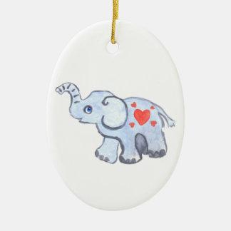 bebê do elefante com corações ornamento de cerâmica oval