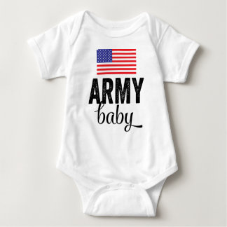 Bebê do exército com bandeira dos EUA T-shirt