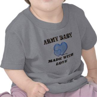 bebê do exército do menino 7x7 feito com amor por tshirt