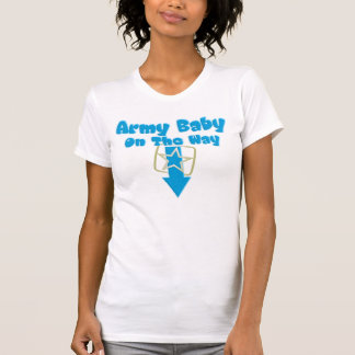 Bebê do exército na maneira (azul) camiseta
