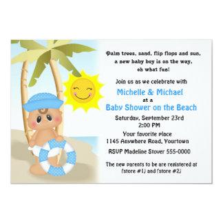 Bebê do marinheiro no chá de fraldas da praia convite 12.7 x 17.78cm