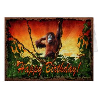 Bebê do orangotango & cartão de aniversário dos an