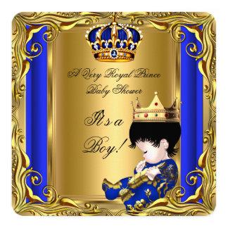 Bebé do ouro do chá de fraldas do príncipe azul convite quadrado 13.35 x 13.35cm