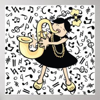 Bebê do saxofone poster