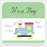 Bebé do trem de Choo Choo Adesivo Quadrado