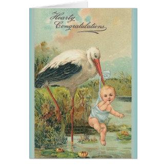 Bebê do vintage e cartão novos da cegonha