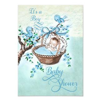 Bebê do vintage no chá de fraldas dos meninos da convite 12.7 x 17.78cm