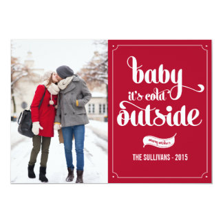 Bebê é cartão com fotos exterior frio do feriado convites personalizados