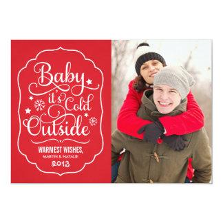 Bebê é cartão com fotos frio do feriado da parte convite