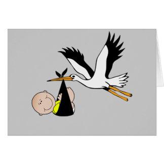 Bebê e cegonha recém-nascidos cartões