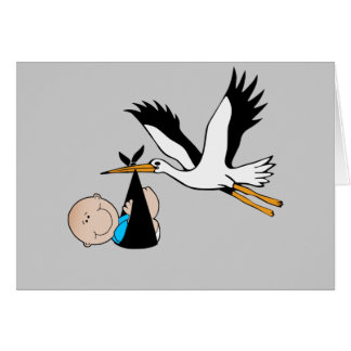 Bebé e cegonha recém-nascidos cartão comemorativo