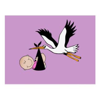 Bebé e cegonha recém-nascidos cartoes postais