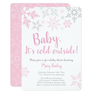 Bebê é convite cor-de-rosa exterior frio do chá de