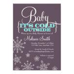 Bebê é convite exterior frio do chá de fraldas