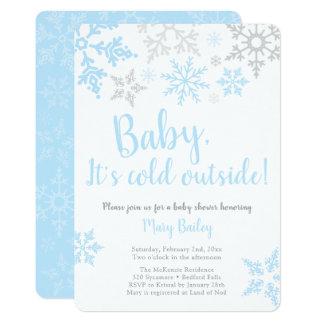 Bebê é convite frio do chá do menino azul da parte