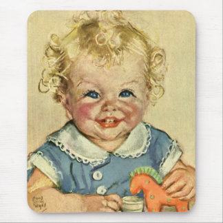 Bebé escandinavo louro bonito ou menina do vintage mouse pad