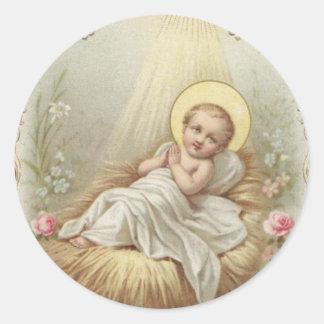 Bebê Jesus no comedoiro Adesivo Redondo