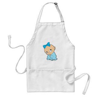Bebê no azul com arco avental