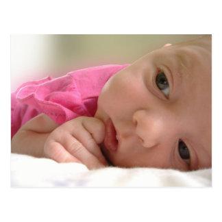 bebé no rosa cartão postal