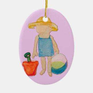 Bebé no selo do rosa cor-de-rosa do aniversário da ornamento de cerâmica oval