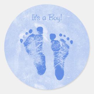 Bebê novo Annoucements das pegadas bonitos do bebê Adesivo Em Formato Redondo