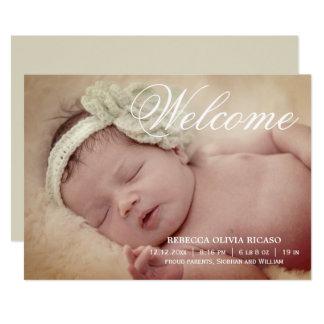 Bebê novo do rolo bem-vindo da tipografia convite 12.7 x 17.78cm