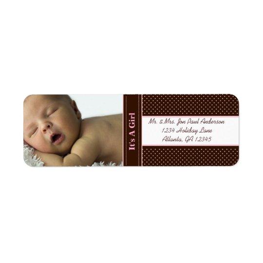 Bebê novo é uma menina Brown & pontos cor-de-rosa Etiqueta Endereço De Retorno