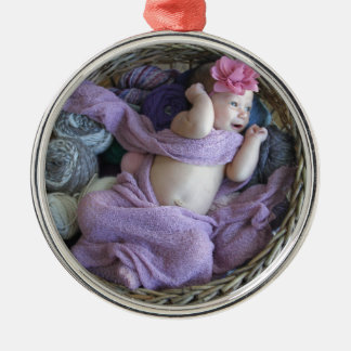Bebê Ornamento Redondo Cor Prata