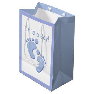 Bebé os pés pequenos é um menino MGB Sacola Para Presentes Média