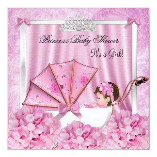 Bebé pequeno da princesa chá de fraldas convite quadrado 13.35 x 13.35cm
