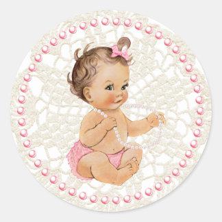 Bebé. Pérolas e etiqueta do laço Adesivo