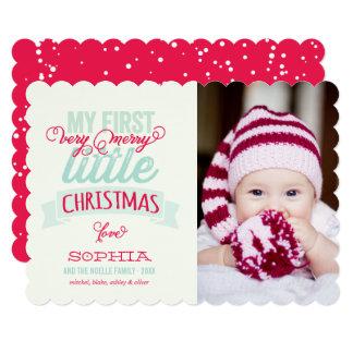Bebê primeiro alegre poucos cartões de foto de convite 12.7 x 17.78cm