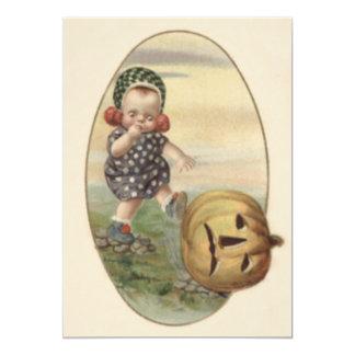 Bebê que retrocede a abóbora da lanterna de Jack O Convite 12.7 X 17.78cm