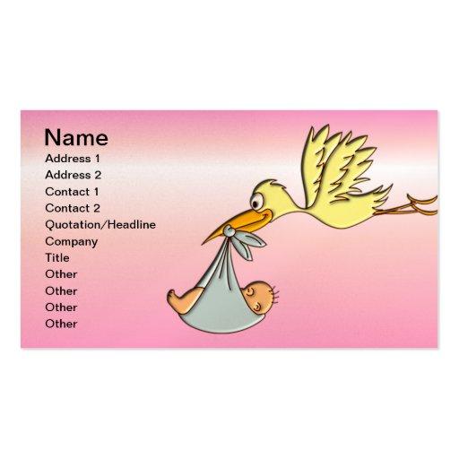 Bebé recém-nascido - uma entrega da cegonha do vôo modelo cartão de visita