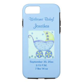 Bebê seu uma pilha azul do anúncio do nascimento capa iPhone 7