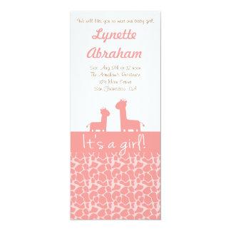 Bebé - silhuetas & impressões cor-de-rosa do convite 10.16 x 23.49cm
