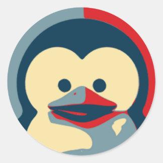 Bebê Tux Linux Adesivo Em Formato Redondo