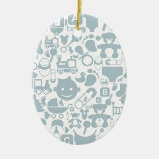 Bebê um background2 ornamento de cerâmica oval