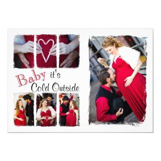 bebê vermelho & branco de 5x7 é cartão com fotos convite 12.7 x 17.78cm