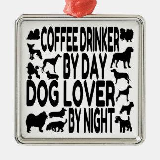 Bebedor do café do amante do cão ornamento de metal